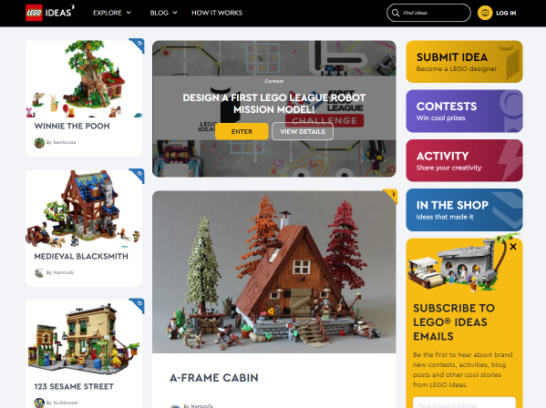 Voorbeeld branded community Lego ideas
