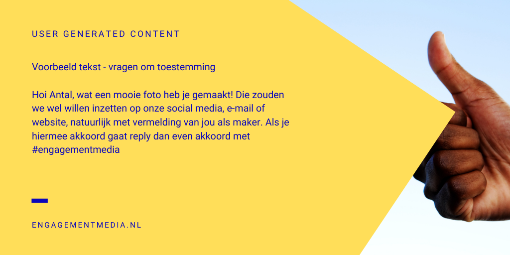 User Generated Content - Toestemming vragen